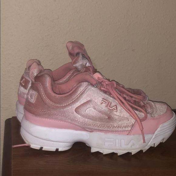 Fila Shoes   Pink Velvet Fila Disruptor